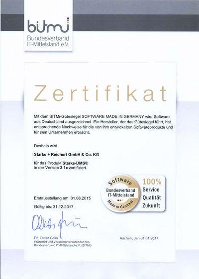 BITMi-Urkunde Starke-DMS®