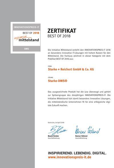"""Zertifikat """"BEST OF 2018"""" Innovationspreis-IT"""