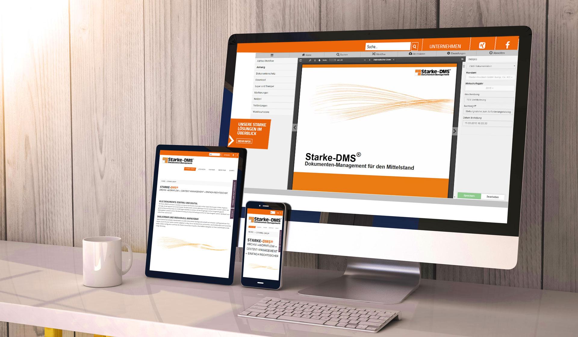 Starke-DMS® auf allen Endgeräten, mobil, tablet, PC, Smartphone - Startbanner